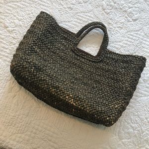 Handbags - Large olive green lined market basket bag